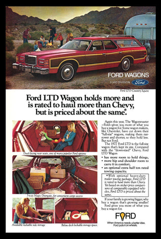1977 Ford Wagon AD Ford LTD Country Squire RED Automobile Car Auto Advertisement - Paperink Graphics