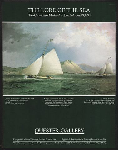Yacht Racing on Hudson River James E. Buttersworth 1995 Gallery Print Marine Ad - Paperink Graphics