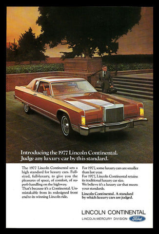 1977 Lincoln Continental Automobile Car Ad Luxury Car Auto Photo Advertisement - Paperink Graphics