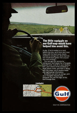 1966 Gulf Oil AD Road Closed Sign Tourguide Promo Advertising Transportation AD - Paperink Graphics