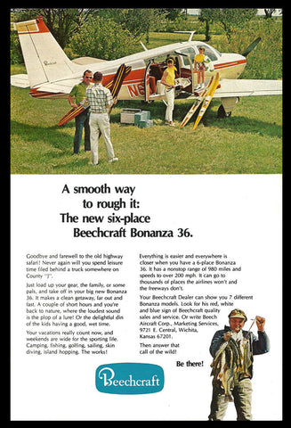 Beechcraft Bonanza 36 Airplane Aviation Vintage 1969 Beech Aircraft Photo Art AD - Paperink Graphics
