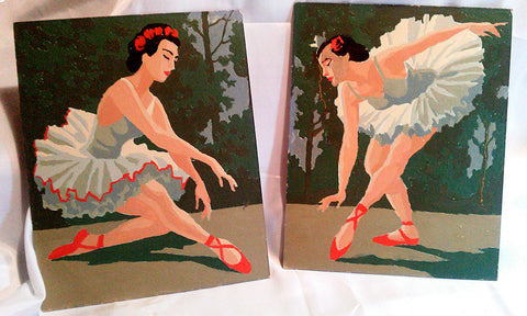 Paint by Number Ballet Dancers Pair Vintage Collectible Artwork Ballerinas Dance - Paperink Graphics