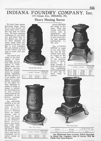 1926 Manufacturing AD Iron Heating Stoves Dexter Ajax Stove Indiana Foundry PA - Paperink Graphics