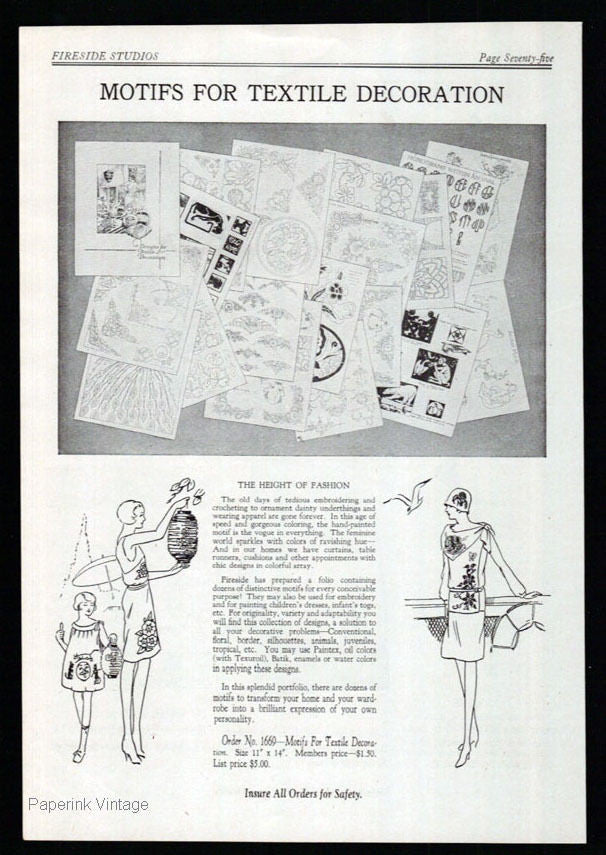 1928 Antique Ad Motifs for Textile Decoration Fashion Ornamentation Art Designs - Paperink Graphics