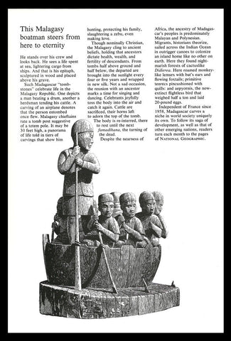 Madagascar Malagasy Boatman Wood Carving 1977 Nat Geo Publication Art Print AD - Paperink Graphics