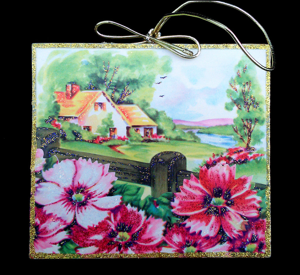 Cottage Garden Flowers Fence Wood Ornament Spring Day Glittered