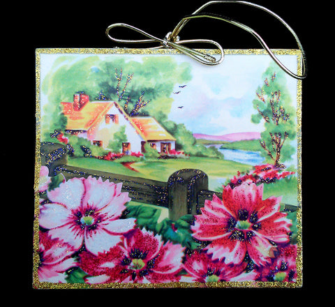 Cottage Garden Flowers Fence Wood Ornament Spring Day Glittered Vintage Image - Paperink Graphics