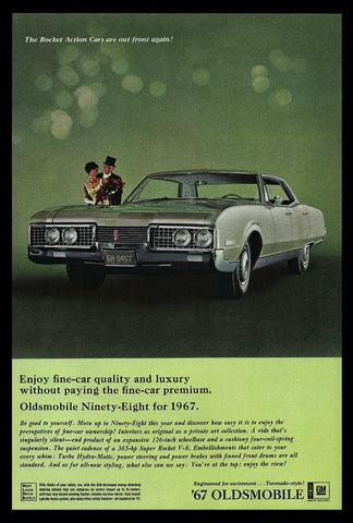 Oldsmobile Ninety-Eight for 1967 Vintage General Motors Automobile Auto Car AD