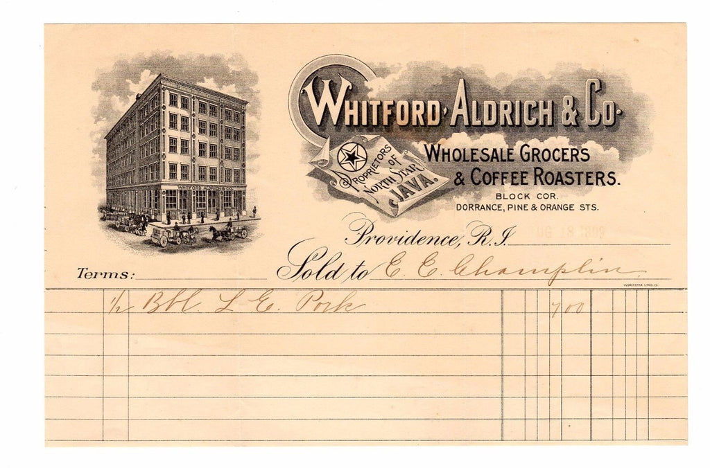 1899 Whitford Aldrich Wholesale Grocers & COFFEE Roasters Providence RI Billhead
