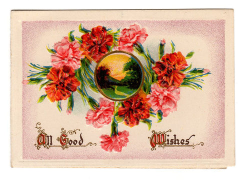 Antique Art Card Sunrise Country Road Miniature Art Print Embossed Flowers Graphic Arts