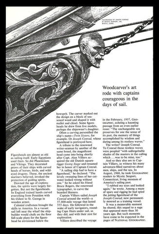 Ship Figurehead Wood Carving Joseph Conrad Mystic 1977 Nat Geo NGS Art Print AD - Paperink Graphics