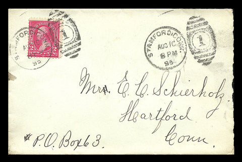 1895 Stamford Conn Fancy Cancel 2¢ Washington Reverse Hartford Rec'd
