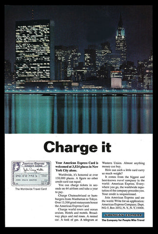 American Express Charge Card AD 1966 New York City Night Skyline NYC Photo View - Paperink Graphics