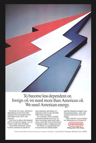 1977 Conoco Energy AD Continental Oil Co. Stamford CT Lightning Bolt Art Graphic - Paperink Graphics