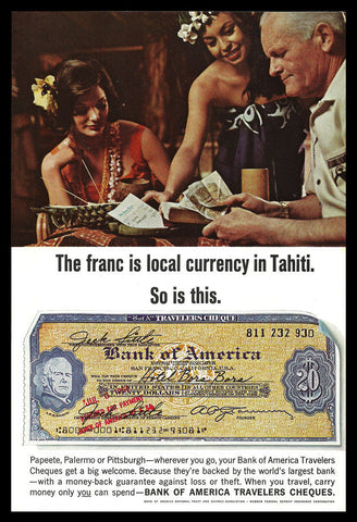 Bank of America Travelers Cheques 1965 AD Polynesian Tahiti Travel Photo Art AD - Paperink Graphics