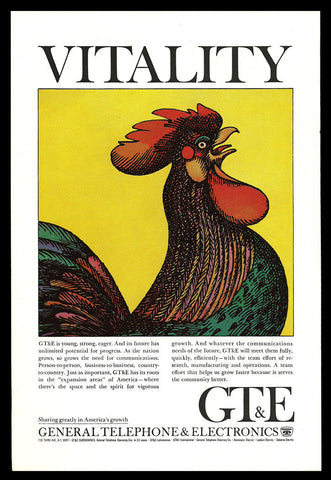 ROOSTER Art Print Ad 1965 GT&E General Telephone Electronics Advertising Art AD - Paperink Graphics