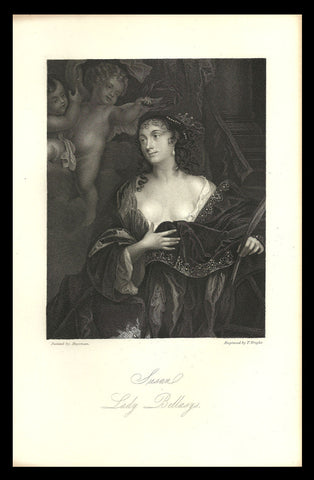1851 Antique Art Print Susan, Lady Bellasys  Charles II Court Beauties Engraving - Paperink Graphics
