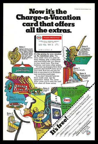 Roadside Travel Graphic Arts Illustration AD 1969 ENCO Credit Card Advertising - Paperink Graphics