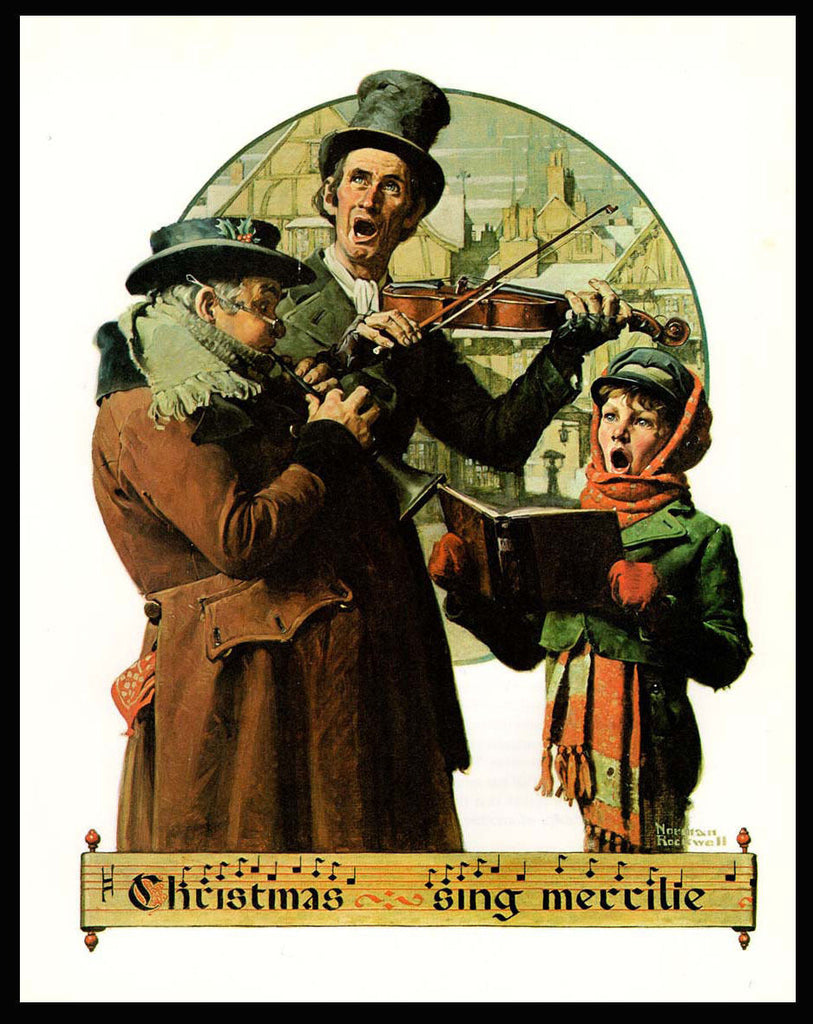 Christmas Trio Carolers Songs Music Instruments Norman Rockwell Art ...