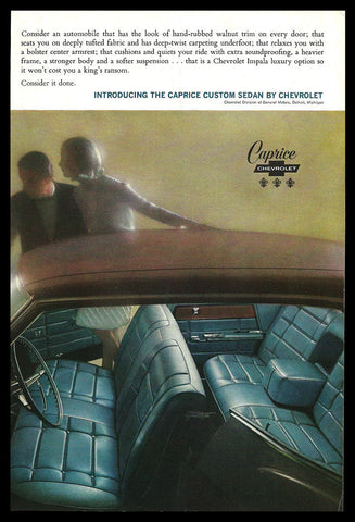 Chevrolet Caprice Custom Sedan Car Interior 1965 Vintage Auto Automobile AD - Paperink Graphics