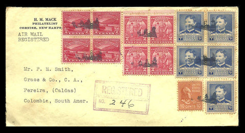 Registered Airmail No 246 US Cover Blocks Cornish NH to Colombia 1941 Postmarks - Paperink Graphics