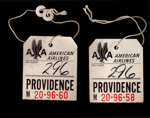 American Airlines Vintage Baggage Luggage Tags Lot of 2 Aviation Collectibles Airline Memorabilia Eagle Art Graphics Logo
