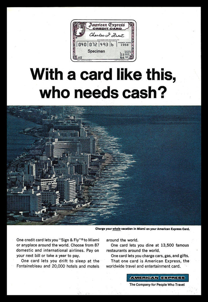 American Express Charge Card AD 1966 Miami Florida Waterfront Oceanview Photo Ad - Paperink Graphics