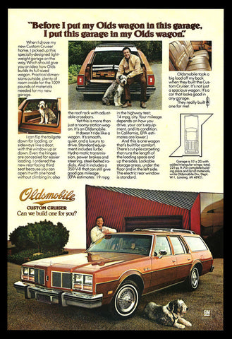 English Sheepdog GM 1977 Olds Wagon Ad Oldsmobile Custom Cruiser Auto Car Advert - Paperink Graphics