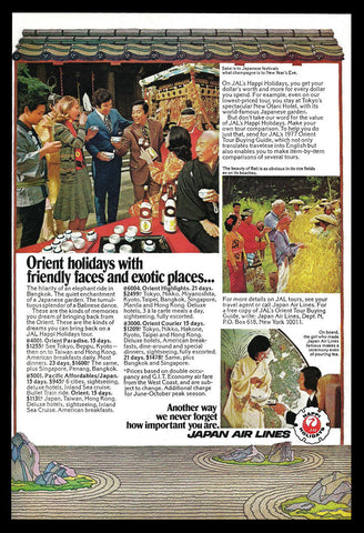 1977 Japan Air Lines Travel Tourism Orient Holidays Japanese Sake Photo Art AD - Paperink Graphics
