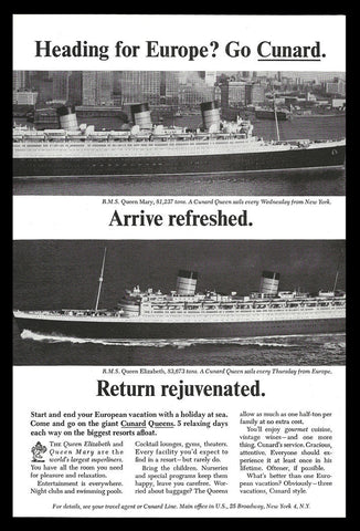 Cunard Ocean Liner R.M.S. Queen Elizabeth R.M.S. Queen Mary Cunard Ships 1965 AD - Paperink Graphics