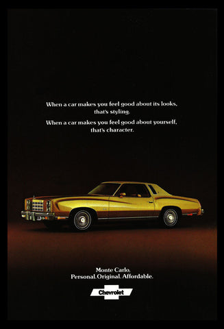 Chevrolet Monte Carlo Vintage Automobile Car Ad 1977 Auto Industry Advertisement - Paperink Graphics
