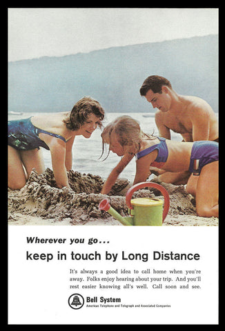 Bell System Long Distance Telephone 1965 Vintage Communications Beach Sand AD - Paperink Graphics