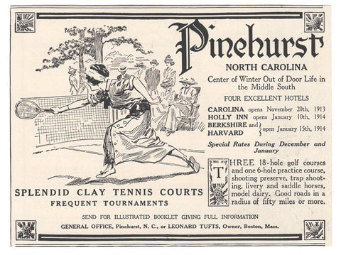 Clay Tennis Courts Tournaments Pinehurst NC 1913 Print AD Golfing Sports Resort - Paperink Graphics