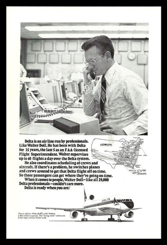 1977 Delta Airlines Aviation Delta Flight Console Photo Illustration Art AD - Paperink Graphics