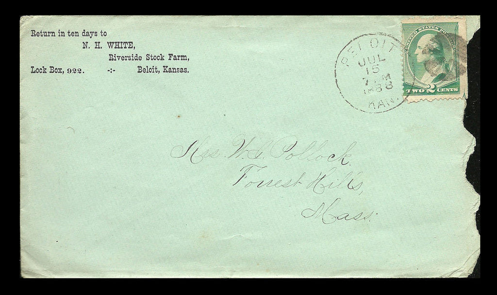 1888 Beloit Kansas Fancy Cancel 2¢ Green Washington Postal History Cover - Paperink Graphics
