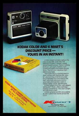 1977 Ad Kodak Instant Camera EK6, Kodak Handle Camera Kmart Store Advertisement - Paperink Graphics