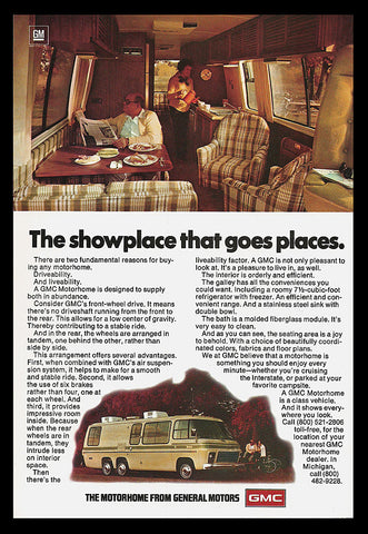 GMC Motorhome Recretational Vehicle RV Travel 1977 Photo Illustration Art AD - Paperink Graphics
