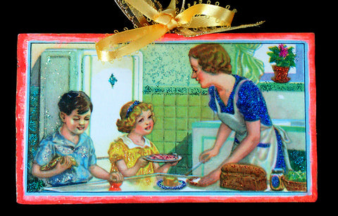 HOLD Ebay Children Helping Mother in Kitchen Wood Ornament Glittered Sweet Vintage Image - Paperink Graphics