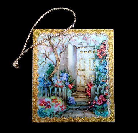 Doorway Garden Flowers Tree Wood Ornament Glittered Beautiful Vintage Image - Paperink Graphics