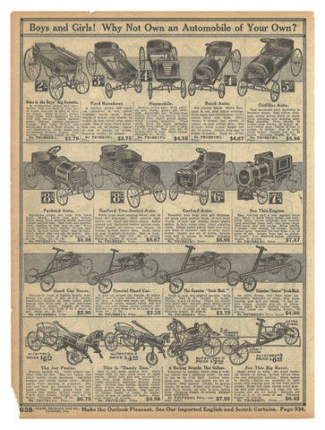 Automobile Car Racers Antique TOYS Ad 1914 Racing Cars for Boys and Girls Catalog Advertising Page - Paperink Graphics