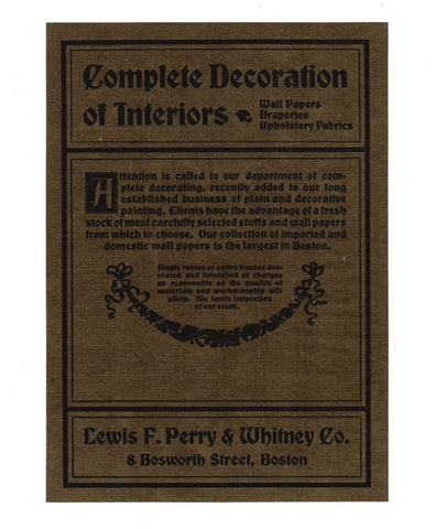 Interior Decorating Textiles AD 1900 Arts Crafts Design Lewis F. Perry & Whitney