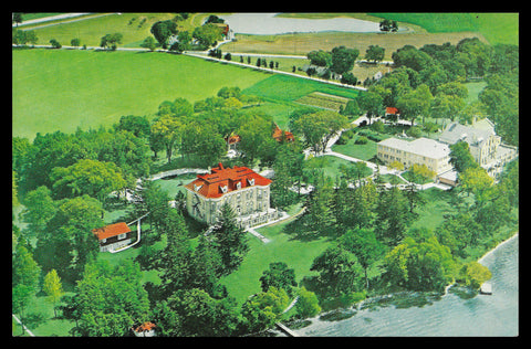 Cistercian Abbey Aerial View Postcard Wisconsin Oconomowoc Lady of Spring Bank WI PC