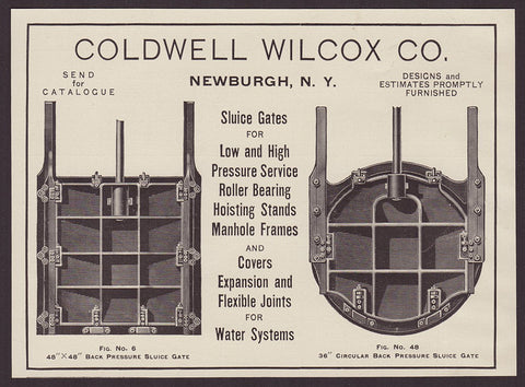 Coldwell Wilcox Co. Newburgh NY 1911 AD Sluice Gates Manhole Covers Frames Water - Paperink Graphics