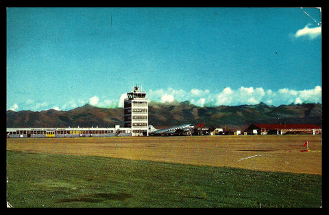 Anchorage Airport Postcard Alaska International Airport Field Tower Airplane AK PC