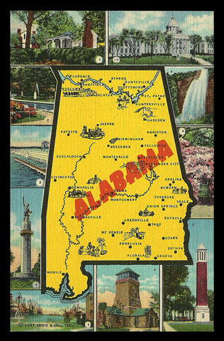 Alabama Map Postcard Scenic Cities Sites of Interest AL PC
