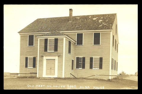 Alna Meeting House Real Photo Postcard Maine Alna Old 1780 Meeting House ME RPPC