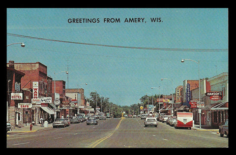 Amery Storefronts Postcard Wisconsin Greetings Signs Cars Camper Indian Head WI PC