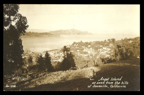Angel Island RPPC California from the Hills of Sausalito Postcard CA PC