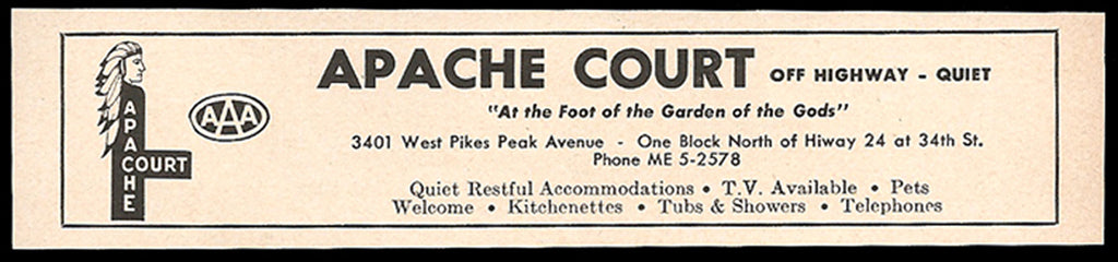 Apache Court Ad Colorado Springs Colorado TV Pets Phone 1964 Roadside Ad Travel