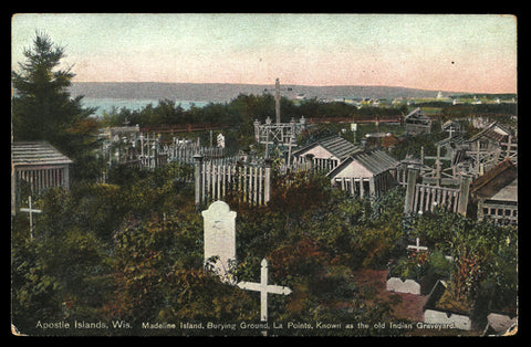 Madeline Island Postcard Wisconsin Old Indian Graveyard Gravehouses WI PC